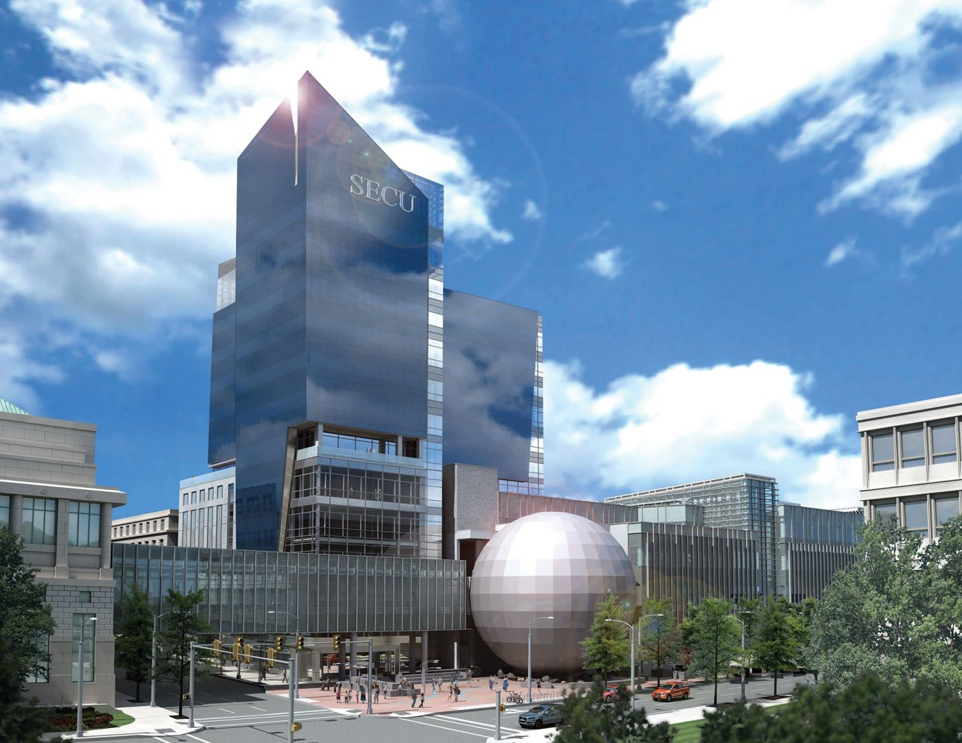 3d rendering made for the architecture firm designing the state employees credit union building in raleigh nc