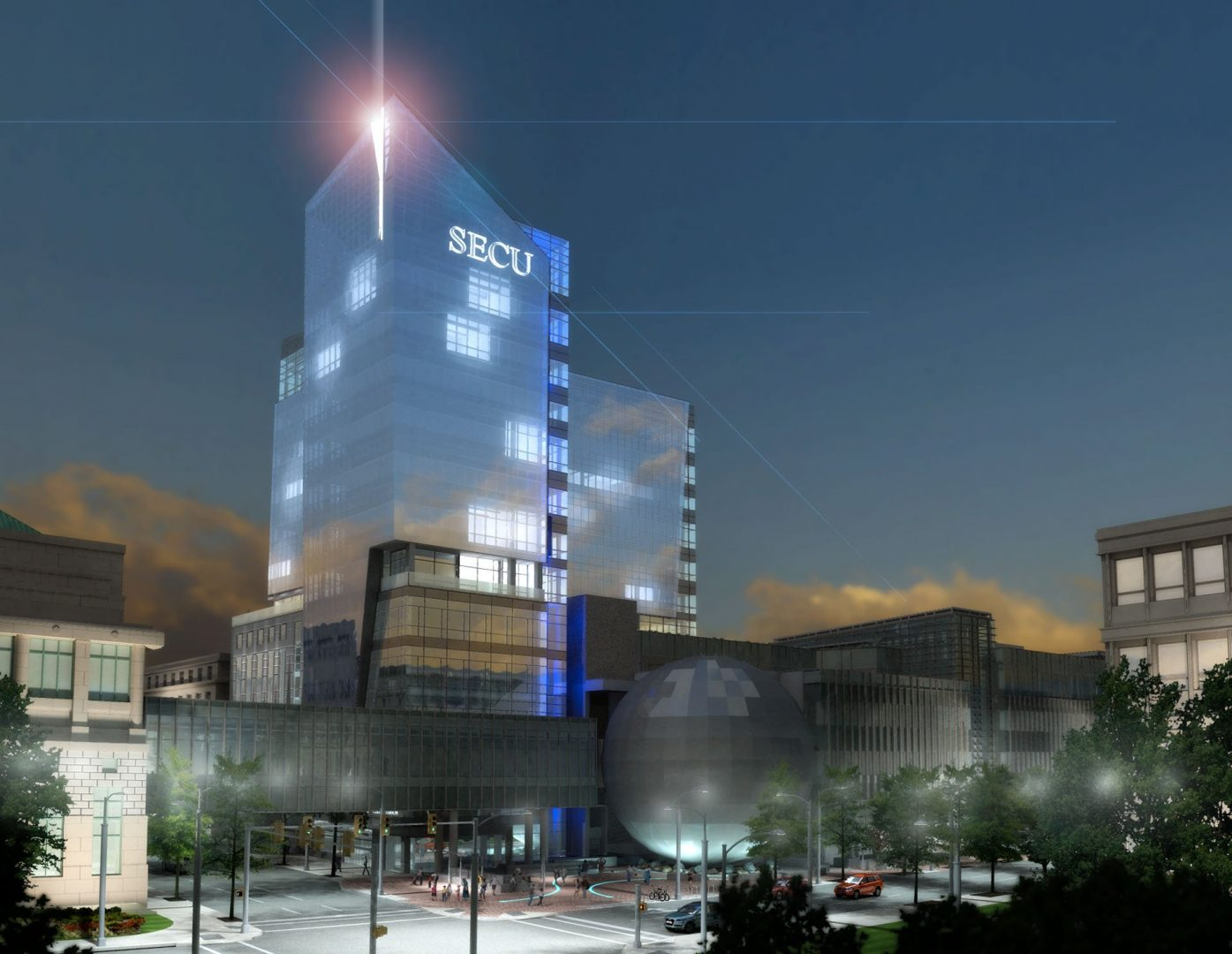 a 3D rendered night lighting study made for the architecture firm designing the state employees credit union building in raleigh nc