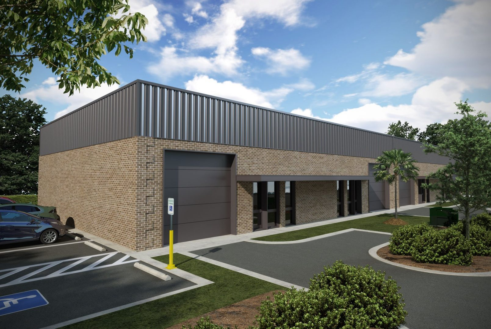a three quarter view 3d rendering of a brown brick and metal industrial building for a building permit request
